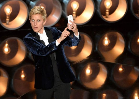 Host Ellen DeGeneres during the Oscars at the Dolby Theatre.