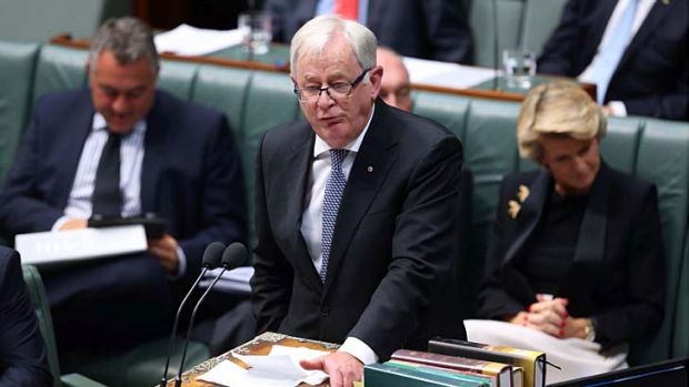 Prime Minister Tony Abbott has announced Trade minister Andrew Robb, pictured during question time on Monday, has ...
