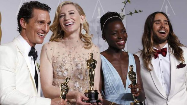 Oscar winners (L-R) best actor winner Matthew McConaughey, best actress winner Cate Blanchett, best supporting actress ...