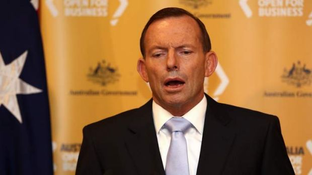 """Prime Minister Tony Abbott: """"Saddled with his paid parental leave scheme, and various spending promises that Australia ..."""