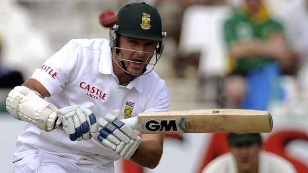 South Africa's Graham Smith evades a short-pitched delivery during his brief stay at the wicket.
