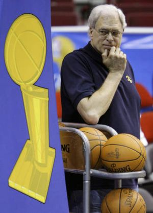 Los Angeles Lakers coach Phil Jackson watches practice during the 2009 NBA Finals against the Orlando Magic.