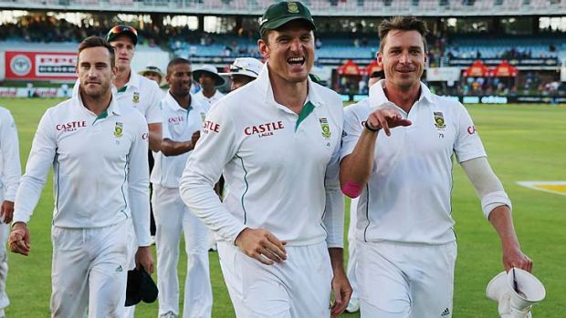 Graeme Smith and Dale Steyn of South Africa celebrate after winning the Second Test.