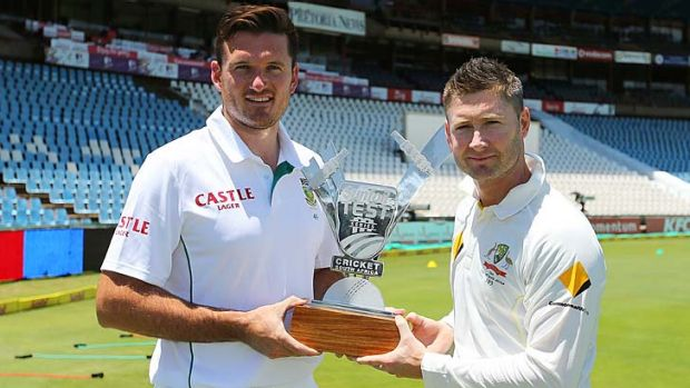 Graeme Smith with Australian captain Michael Clarke.