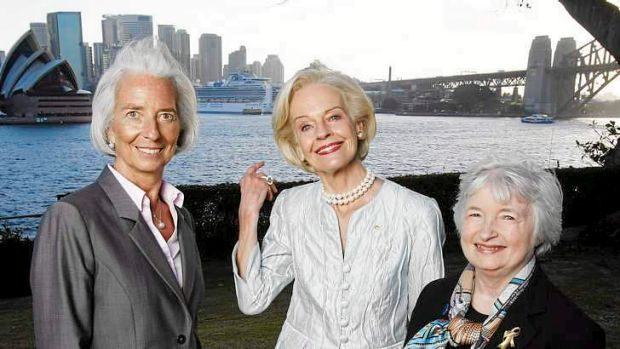 IMF managing director Christine Lagarde, Governor-General, Quentin Bryce and the chair of the US Federal Reserve, Janet ...