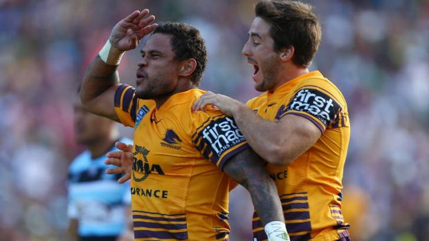 Josh Hoffman, pictured celebrating a try during the Auckland NRL Nines, has been named at five-eighth for the Round One ...
