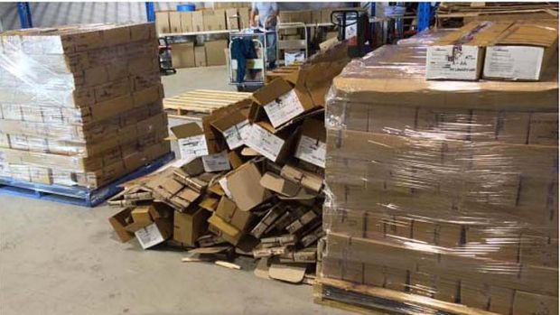 Photos of the AEC's dock area during the botched recount process in Western Australia.