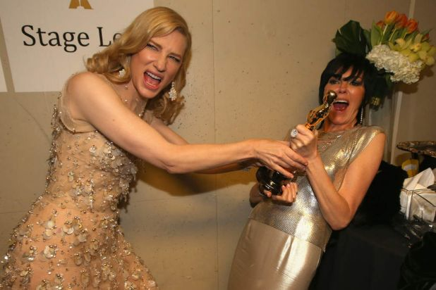 Actress Cate Blanchett, winner of Best Performance by an Actress in a Leading Role poses backstage during the Oscars.