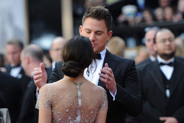 Actor Channing Tatum and his wife Jenna Dewan arrive on the red carpet for the 86th Academy Awards.