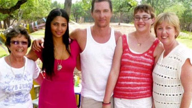Matthew McConaughey with Australian aunt Stephanie (L), wife Camilla, cousin Karla Rothpletz-Tatt (far right) and her ...
