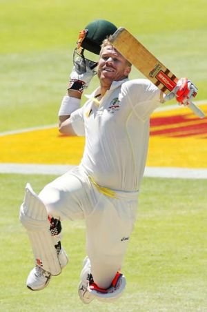 David Warner of Australia celebrates after his second century of the Third Test.