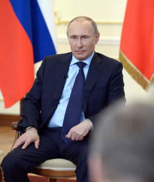 Vladimir Putin at a press conference in Russia.