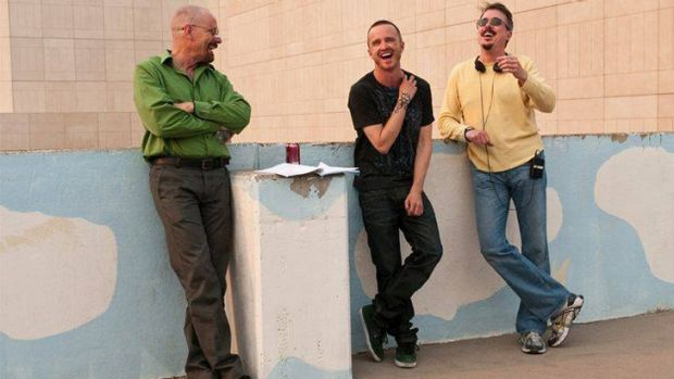 <i>Breaking Bad</i>'s Vince Gilligan (far right) with actors Bryan Cranston and Aaron Paul.