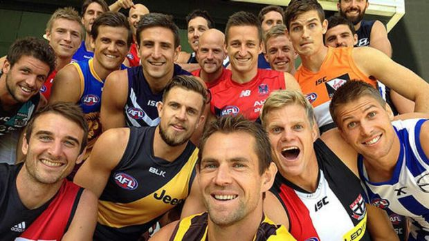 The captains line up for a selfie. Photo: Getty Images