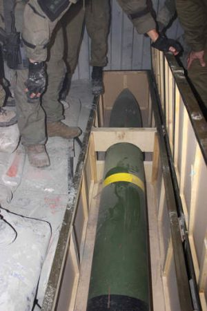 A picture from the Israel Defence Forces of a missile on the intercepted ship.