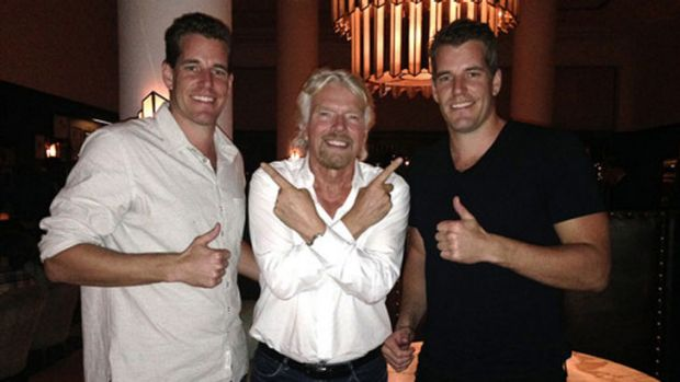 Bound for space: The Winklevoss brothers with Richard Branson.