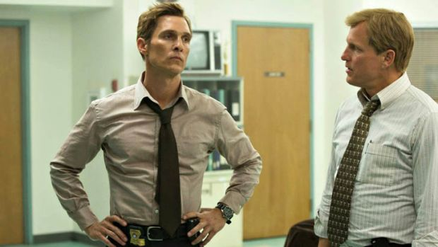 Matthew  McConaughey and Woody Harrelson in HBO's  <i>True Detective</i>.