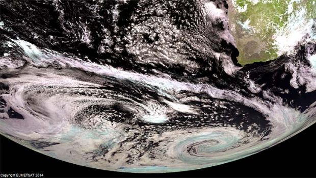 A EUMETSAT satellite image shows a late summer storm swirling along the northern coast of Antarctica on March 5.
