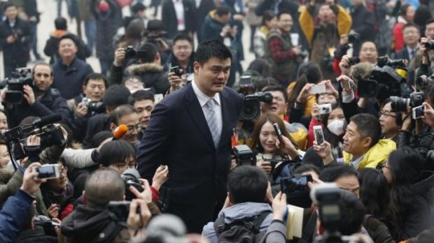 Former NBA star Yao Ming outside Beijing's Great Hall of the People this week.