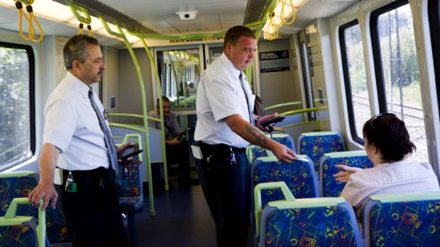 Ticket inspectors at work on the Sandringham line (these men were not involved in the violent incidents referred to and ...