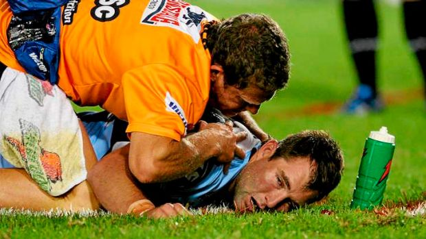 In Disneyland: Ben Ross is concussed playing for Cronulla against Manly in 2008.