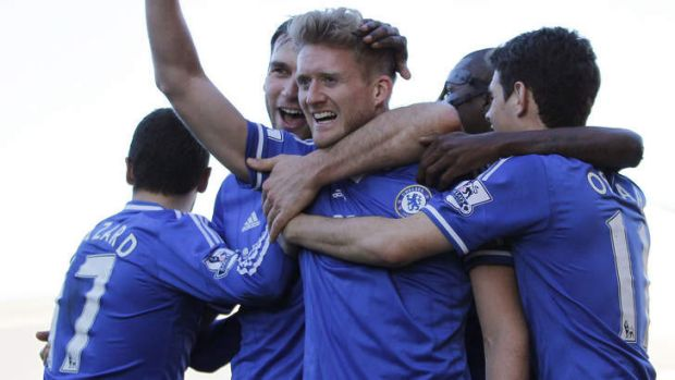 Hat-trick: Andre Schurrle, who scored Chelsea's three goals against Fulham, is confident his club can go all the way in ...