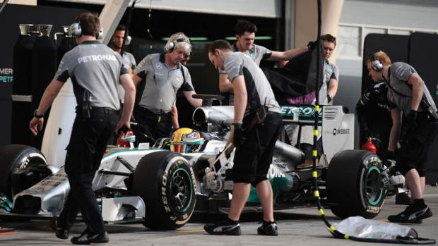 Lewis Hamilton during a pit stop.