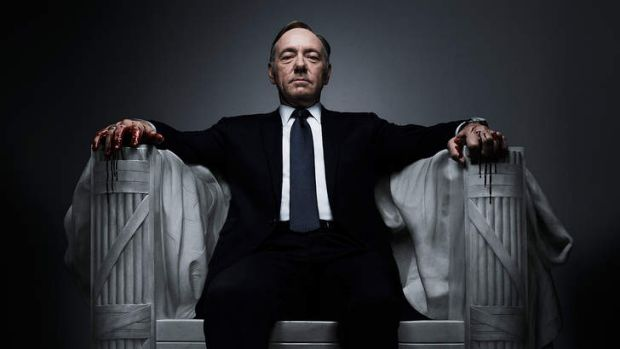 Kevin Spacey as Frank Underwood in <i>House of Cards</i>.