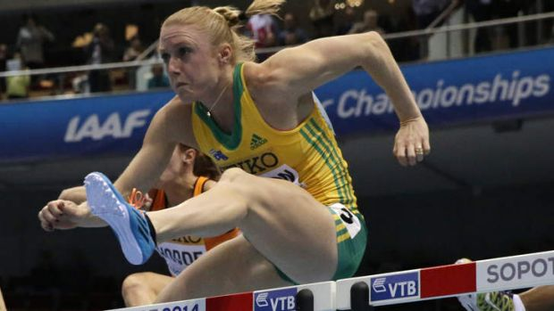 Record pace: Australia's Sally Pearson clears a hurdle in a women's 60m hurdles in Sopot, Poland.
