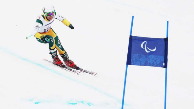 Mitchell Gourley of Australia trains for the Men's Downhill Sitting Ski event at Rosa Khutor Alpine Center in Sochi, Russia.