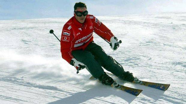 Worried family: Michael Schumacher during an earlier skiing holiday.