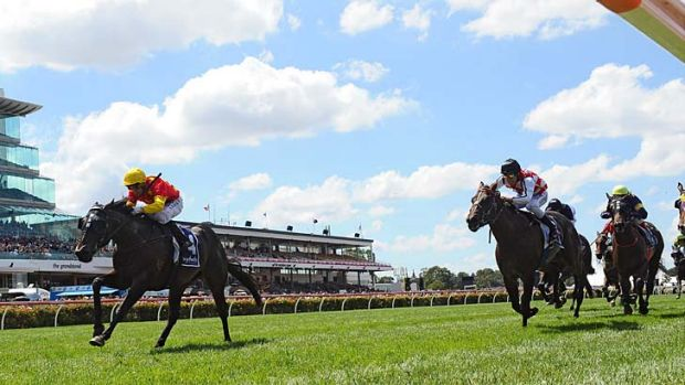 Stephen Baster riding Zululand to win the Henry Bucks Sires Produce Stakes.