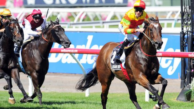 Too easy: Lankan Rupee goes to the line in the Newmarket Handicap under a hold from rider Chad Schofield.