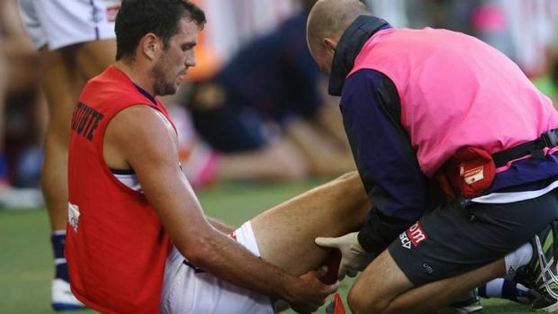 More rehab: Scott Gumbleton is treated for a hamstring problem.