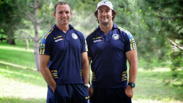 Prodigal sons: Luke Burt and Nathan Hindmarsh have joined Parramatta's coaching staff.