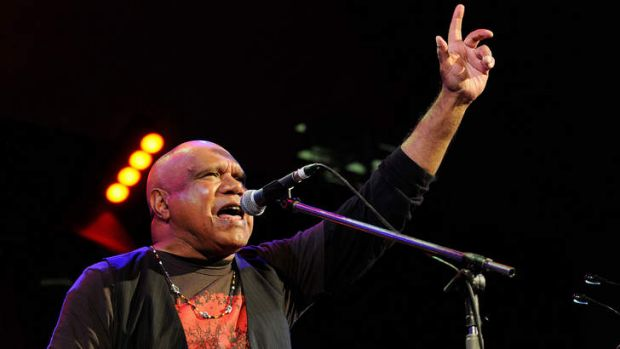 Power and pride: Archie Roach performs at the Port Fairy Folk Festival on Saturday.