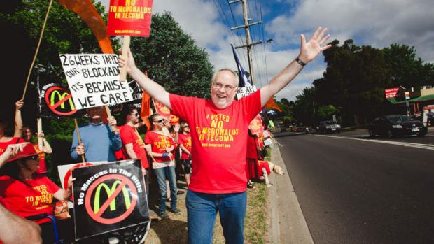 Tecoma protester Gary Muratore fears the new law.