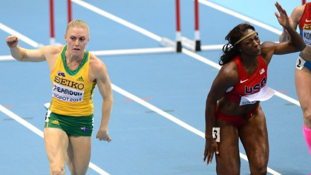 Disappointed: Sally Pearson is edged out by American Nia Ali.