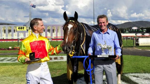 Jockey Glyn Schofield and trainer Gerald Ryan - winners of the Black Opal with horse Lucky Raquie.