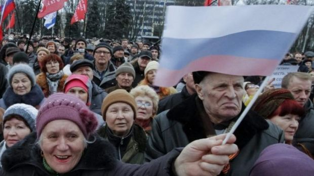 Pro-Russian demonstrators take part in a rally in Odessa.
