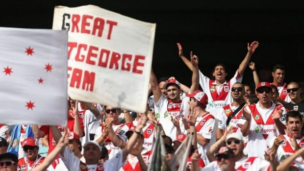 Die-hard fans: Dragon supporters made the trek to Sydney Olympic Park to support their team against the Tigers.