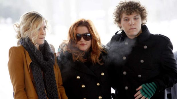 Lisa Marie Presley, centre, with two of her children, Riley and Benjamin Keough.