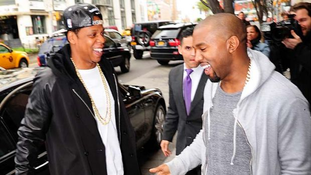 Jay Z and Kanye West are seen in Soho on April 22, 2013 in New York City.