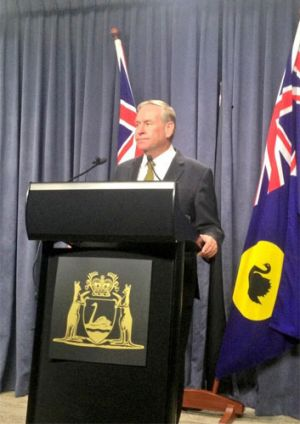 """WA Premier Colin Barnett told the media Troy Buswell was in a """"bad way""""."""