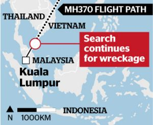 Flight path: The missing MH370.