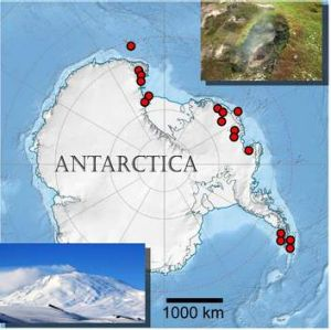 Map of volcanoes known to have been active since the last Ice Age. Inset lower left: volcanic Mount Erebus (photo by ...