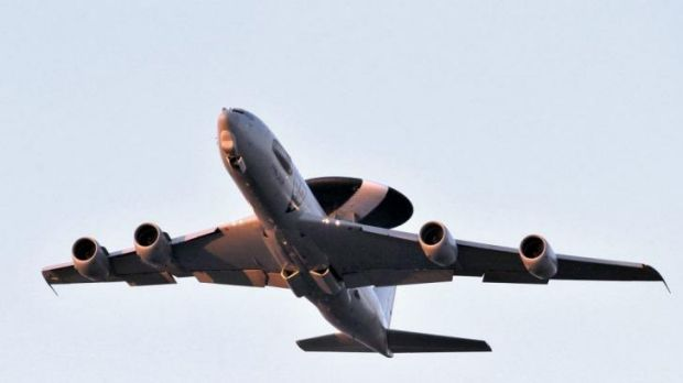 An Airborne Warning and Control System (AWACS) plane such as this will be deployed to Poland amid heightened  tensions ...