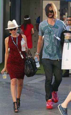 Dannii Minogue and Adrian Newman on their way to the Mens Final of the Australian Open.