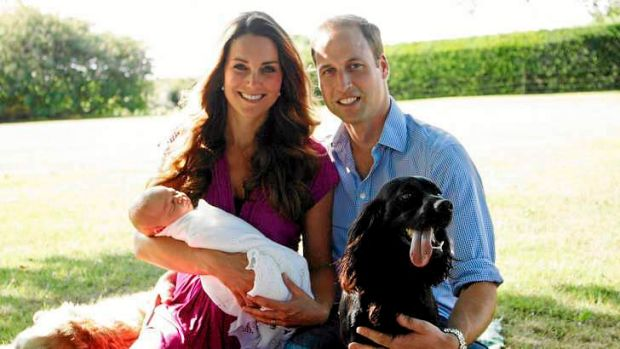 Kate and William with baby George and the couple's dogs.