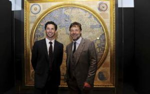 Ryan Stokes chairman of the National Library and Russell Crowe launched the exhibition.